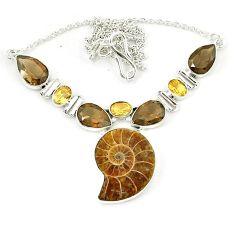 Natural brown ammonite fossil smoky topaz citrine 925 silver necklace k75484