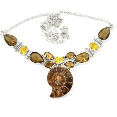 Natural brown ammonite fossil smoky topaz citrine 925 silver necklace k75485