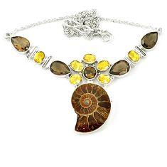Natural brown ammonite fossil smoky topaz citrine 925 silver necklace k75486