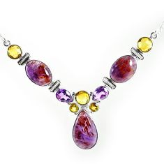 Natural purple cacoxenite super seven (melody stone) 925 silver necklace k76143