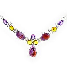 925 silver natural purple cacoxenite super seven (melody stone) necklace k76144