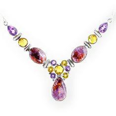 Natural purple cacoxenite super seven (melody stone) 925 silver necklace k76145