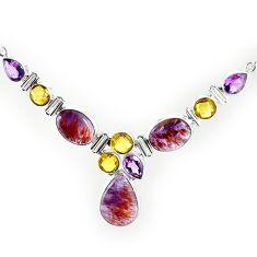 Natural purple cacoxenite super seven (melody stone) 925 silver necklace k76146