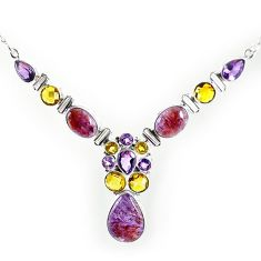Natural purple cacoxenite super seven (melody stone) 925 silver necklace k76147