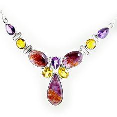 Natural purple cacoxenite super seven (melody stone) 925 silver necklace k76151