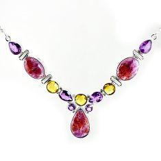 Natural purple cacoxenite super seven (melody stone) 925 silver necklace k76153