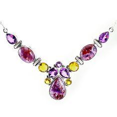 Natural purple cacoxenite super seven (melody stone) 925 silver necklace k76154
