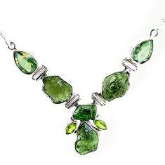 925 silver natural green moldavite (genuine czech) amethyst necklace k76156