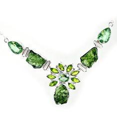 925 silver natural green moldavite (genuine czech) peridot necklace k76158