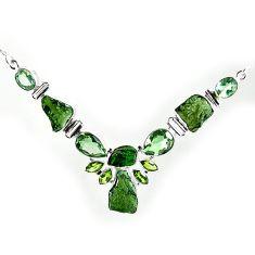 Natural green moldavite (genuine czech) amethyst 925 silver necklace k76159