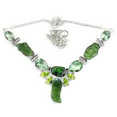Natural green moldavite (genuine czech) peridot 925 silver necklace k76178