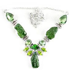 Natural green moldavite (genuine czech) peridot 925 silver necklace k76180