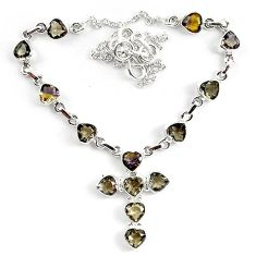 23.50cts multicolor ametrine (lab) 925 sterling silver necklace jewelry k83308