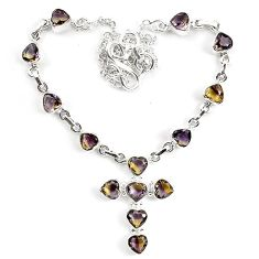 22.54cts multicolor ametrine (lab) 925 sterling silver necklace jewelry k83313