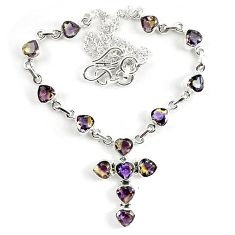23.79cts multicolor ametrine (lab) 925 sterling silver necklace jewelry k83316