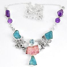 Natural pink morganite rough amethyst topaz 925 silver necklace jewelry k83322