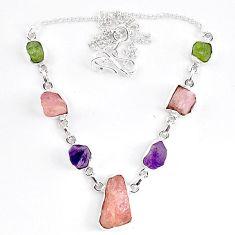 Natural pink morganite rough peridot rough 925 sterling silver necklace k83323