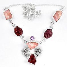 925 silver natural pink morganite rough red garnet rough necklace k83324