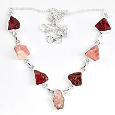 Natural pink morganite rough garnet rough 925 silver necklace jewelry k83325