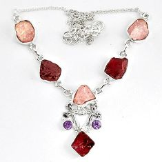 Natural pink morganite rough red garnet rough 925 silver necklace k83326
