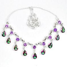 Multi color rainbow topaz amethyst 925 sterling silver necklace k83327
