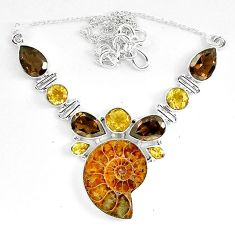 Natural brown ammonite fossil smoky topaz 925 sterling silver necklace k83328