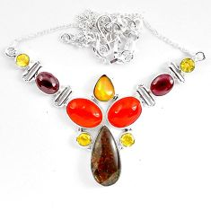 Natural multi color ammolite (canadian) citrine 925 silver necklace k83329