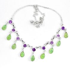 Natural green prehnite purple amethyst 925 sterling silver necklace k83330