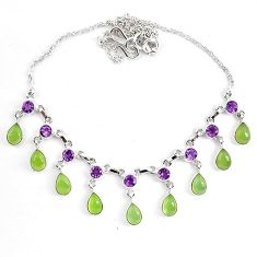 Natural green prehnite purple amethyst 925 sterling silver necklace k83348