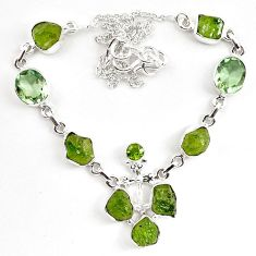 Natural green peridot rough amethyst 925 silver necklace jewelry k83352