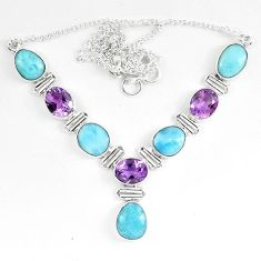 Natural blue larimar amethyst 925 sterling silver necklace jewelry k85979