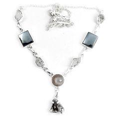 925 sterling silver natural rainbow campo del cielo (meteorite) necklace k86615