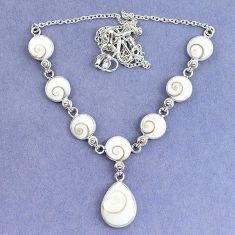Natural white shiva eye pear 925 sterling silver necklace jewelry k86823