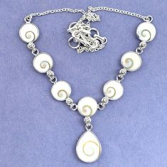 Natural white shiva eye pear shape 925 sterling silver necklace jewelry k86841