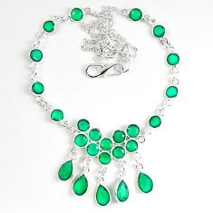 Natural green emerald quartz 925 sterling silver necklace jewelry k87817