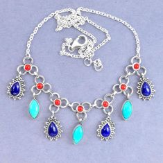 Natural blue lapis lazuli arizona mohave turquoise 925 silver necklace k90607