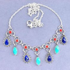 Natural blue lapis lazuli arizona mohave turquoise 925 silver necklace k90608