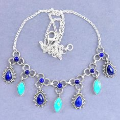 Natural blue lapis lazuli arizona mohave turquoise 925 silver necklace k90616
