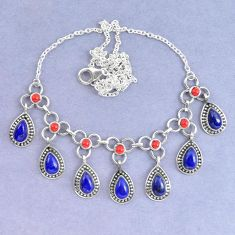 Natural blue lapis lazuli red coral 925 sterling silver necklace k90621