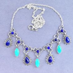 Natural blue lapis lazuli arizona mohave turquoise 925 silver necklace k90622