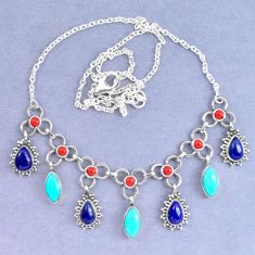 Natural blue lapis lazuli arizona mohave turquoise 925 silver necklace k90623