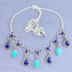 925 silver natural blue lapis lazuli arizona mohave turquoise necklace k90624