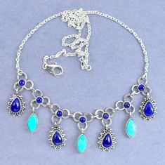 Natural blue lapis lazuli arizona mohave turquoise 925 silver necklace k90629