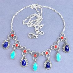 Natural blue lapis lazuli arizona mohave turquoise 925 silver necklace k90630