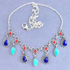 Natural blue lapis lazuli arizona mohave turquoise 925 silver necklace k90631