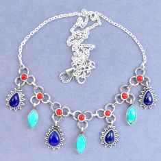 Natural blue lapis lazuli arizona mohave turquoise 925 silver necklace k90633