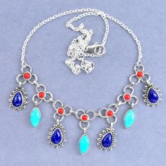Natural blue lapis lazuli arizona mohave turquoise 925 silver necklace k90635