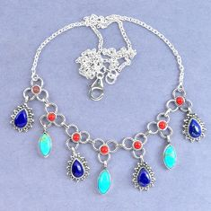 925 silver natural blue lapis lazuli arizona mohave turquoise necklace k90636