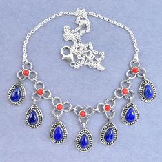 Natural blue lapis lazuli red coral 925 sterling silver necklace k90637