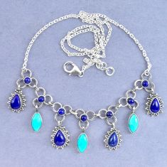 Natural blue lapis lazuli arizona mohave turquoise 925 silver necklace k90638